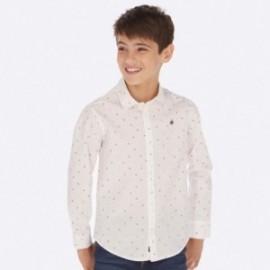 Koszula z długim rękawem we wzory chłopięca Mayoral 7117-84 Biały