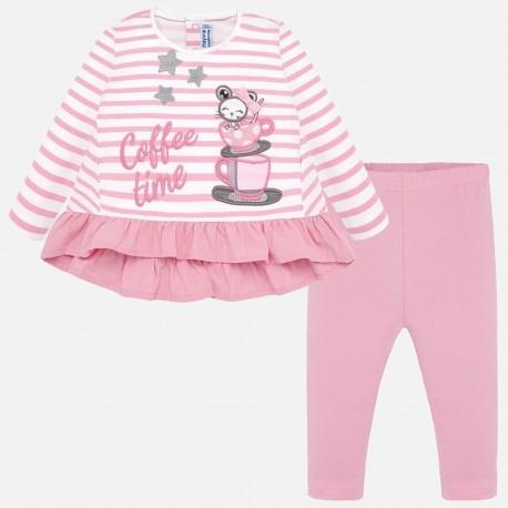 Komplet bluzka z leginsami dla dziewczynki Mayoral 2749-75 Różowy