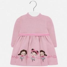Sukienka dzianinowa z haftem dla dziewczynki Mayoral 2928-33 Różowy