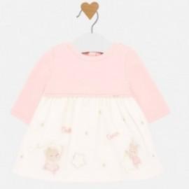 Sukienka bawełniana z tiulem dziewczęca Mayoral 2831-95 Różowy