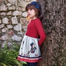 Sukienka z nadrukiem dziewczęca Mayoral 4942-77 Czerwony