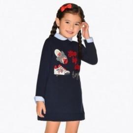 Sukienka z haftem dziewczęca Mayoral 4944-10 Granatowy