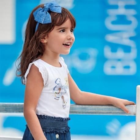 Koszulka bawełniana dla dziewczynki Mayoral 3024-59 Biały