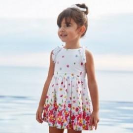 Sukienka popelinowa w kwiaty dla dziewczynek Mayoral 3951-69 Biały