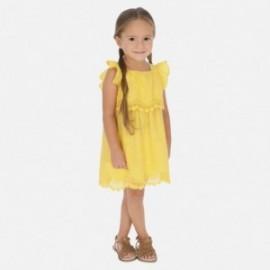 Sukienka popelinowa z haftem dziewczynka Mayoral 3952-46 Żółty