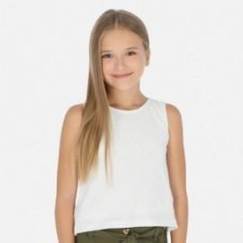 Koszulka bawełniana dla dziewczynki Mayoral 6028-93 biały