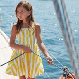 Sukienka popelinowa w paski dziewczynka Mayoral 6979-32 Żółty