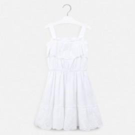 Sukienka popelina z perforacj dziewczynka Mayoral 6982-80 BiałySukienka popelinowa dla dziewczyn Mayoral 6982-80 biały