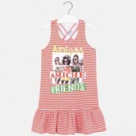 Sukienka w paski dziewczęca Mayoral 6987-93 Pomarańczowy