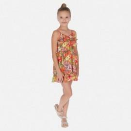 Sukienka w kwiaty dziewczęca Mayoral 6988-19 Pomarańczowy