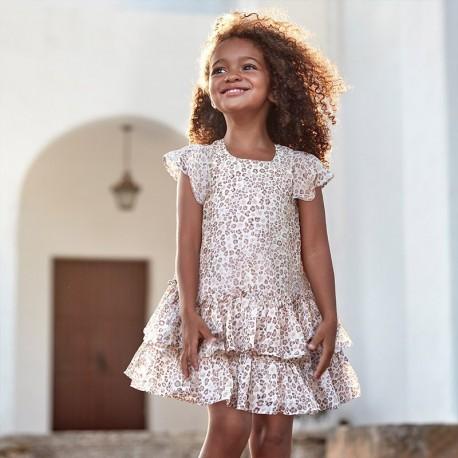 Sukienka w panterkę dziewczęca Mayoral 3957-45 Beżowy