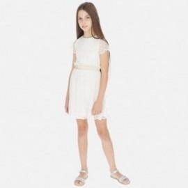 Sukienka tiul z haftem dziewczęca Mayoral 6972-3 Kremowy
