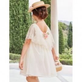 Sukienka tiulowa z falbanką dziewczęca Abel & Lula 5018-3 Kremowy