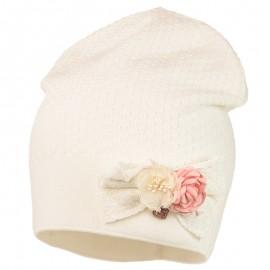 ANTONINA czapka dzianinowa dziewczęca Jamiks JWC002 kolor ekri