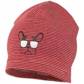 ARON czapka w paski dzianiniwa chłopięca Jamiks JWC173 kolor czerwony