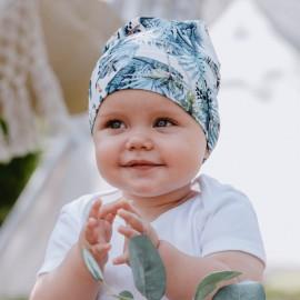 JUNGLE czapka chłopięca przejściowa Jamiks JWC069 kolor szmaragdowy