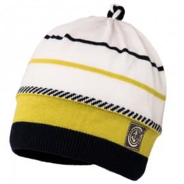LUCIAN czapka przejściowa chłopięca Jamiks JWC175 kolor granat/seledyn