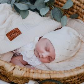 MARKA czapka dla dziewczynki wiązana Jamiks JWC149 kolor ekri