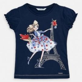 Koszulka bawełniana dla dziewczynki Mayoral 3008-49 granat