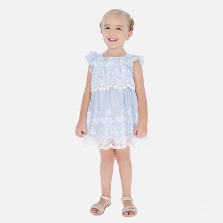 Sukienka popelinowa z haftem dziewczynka Mayoral 3952-47 niebieska