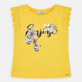 Koszulka bawełniana dla dziewczynki Mayoral 3024-60 Żółty