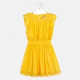 Sukienka z haftem dla dziewczyny Mayoral 6977-44 Żółty
