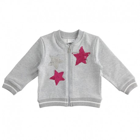Bluza dziewczęca z cekinami iDO J317-8992 kolor szary