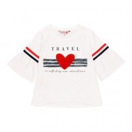 Dzianinowa koszulka dla dziewczynki Boboli 459008-1100 kolor biały