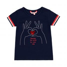 Dzianinowa koszulka dla dziewczynki Boboli 459076-2440 kolor granat