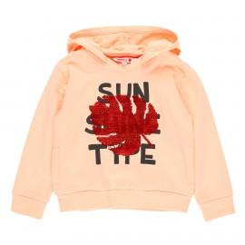 Dzianinowa bluza z kapturem dla dziewczynki Boboli 469087-3665 kolor brzoskwinia