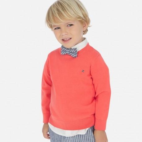 Sweter z lamówką chłopięcy Mayoral 311-74 Koralowy