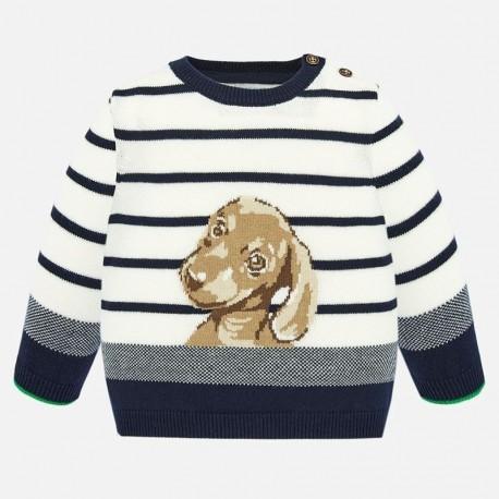 Sweter z haftem chłopięcy Mayoral 1321-48 Śmietanka