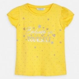 Koszulka bawełniana dla dziewczynki Mayoral 3009-37 Żółty