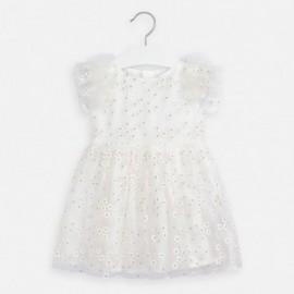Sukienka tiulowa w kwiatuszki dziewczęca Mayoral 3916-83 Kremowy