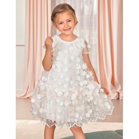 Sukienka w kwiatki dziewczyęca Abel & Lula 5010-29 różowa