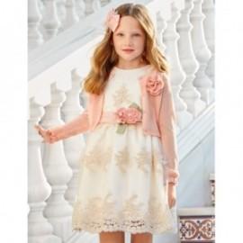 Sukienka tiulowa z haftem w kwiaty dziewczynka Abel & Lula 5020-3 krem