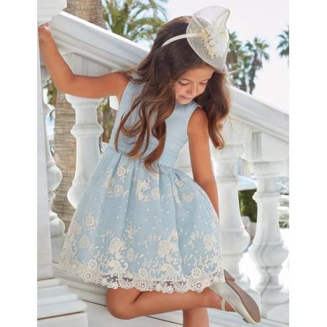 Sukienka wizytowa dla dziewczynki Abel & Lula 5024-38 błękitna