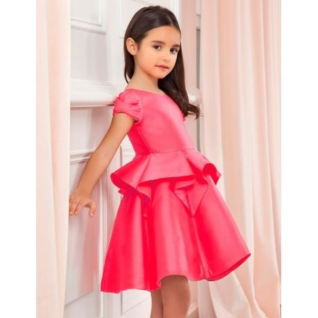 Sukienka wizytowa z falbankami dziewczynka Abel & Lula 5026-6 czerwony