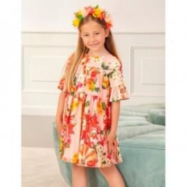 Sukienka elegancka w kwiaty dziewczęca Abel & Lula 5036-46 róż