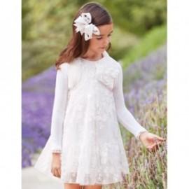 Sukienka tiul z haftem w kwiaty dziewczynka Abel & Lula 5050-1 biała