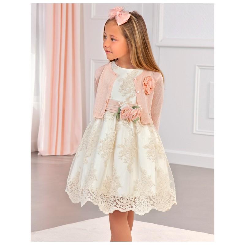 Bolerko eleganckie z połyskiem dla dziewczynek Abel & Lula 5312-57 Łososiowy