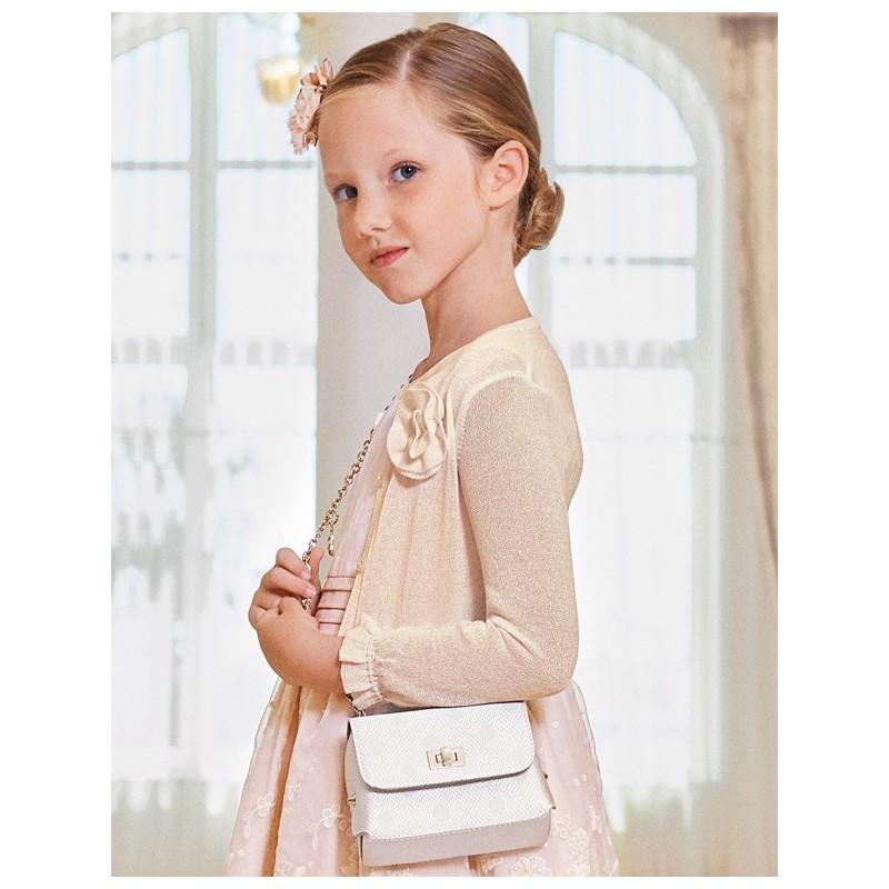 Bolerko eleganckie z połyskiem dla dziewczynek Abel & Lula 5312-60 krem