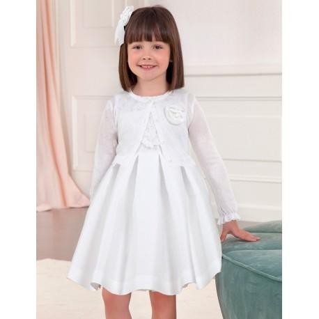 Bolerko eleganckie z połyskiem dla dziewczynek Abel & Lula 5312-58 białe