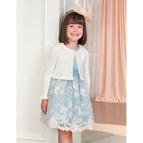 Sweterek bolerko eleganckie dla dziewczynki Abel & Lula 5314-75 krem