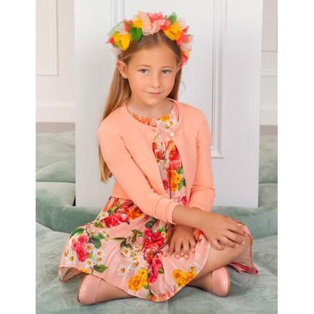 Sweterek bolerko eleganckie dla dziewczynki Abel & Lula 5314-77 brzoskwinia