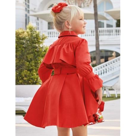 Płaszcz elegancki dla dziewczynek Abel & Lula 5318-91 czerwony