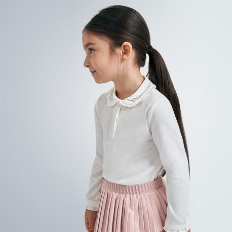 Koszulka polo dla dziewczynki Mayoral 131-55 Kremowy