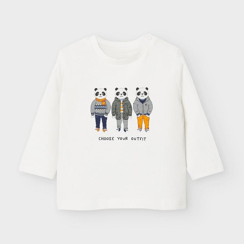 Koszulka z długim rękawem chłopięca Mayoral 2043-91 Śmietanka