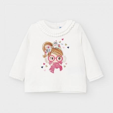 Koszulka z długim rękawem dla dziewczynki Mayoral 2055-28 krem