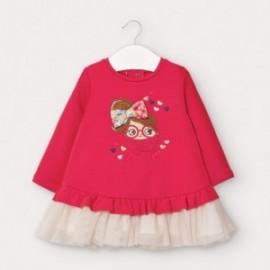 Sukienka dzianinowa z tiulem dziewczynka Mayoral 2965-88 czerwona